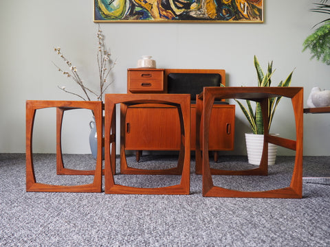 Mid Century G-Plan Teak Nest of Tables with Sleigh Legs - erfmann-vintage