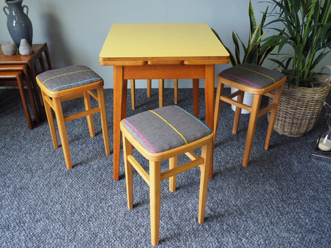 Mid Century 1960s Yellow Formica Table with 3 Reupholstered Stools - erfmann-vintage