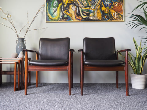 Danish Model 209 Diplomat Rosewood Chairs by Finn Juhl for Cado, 1960s - erfmann-vintage
