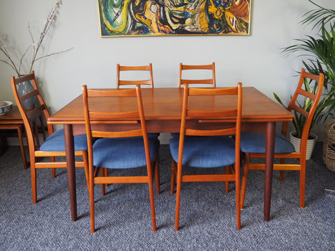 Danish Extending Dining Table & 6 Ladder Back Re-upholstered Chairs in Teak - erfmann-vintage