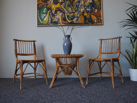 Vintage Retro Bamboo Table & 2 x Chairs 1970s - erfmann-vintage