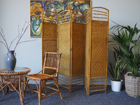 Retro Hollywood Glamour Bamboo Room Divider/Dressing Screen 1970s - erfmann-vintage