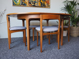 Mid Century Teak Circular Extending Dining Table & 4 Reupholstered Chairs in Grey - erfmann-vintage