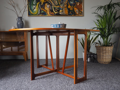 Danish Style Teak Gate-Leg Drop Leaf Dining Table - erfmann-vintage