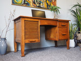 1950s Vintage Solid Oak Desk with Filing Drawer - erfmann-vintage