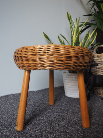 1960s Rattan Stool 'Tony Paul' Style Made in Yugoslavia - erfmann-vintage