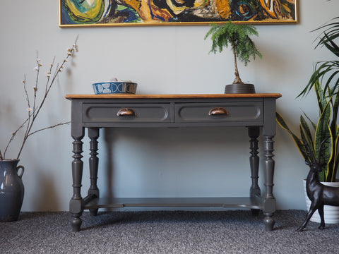 Shabby Chic Rustic Hallway Table Repainted in Grey Shell Handles - erfmann-vintage