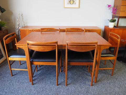 Mid Century McIntosh Extending Dining Table 6 Chairs Teak - erfmann-vintage