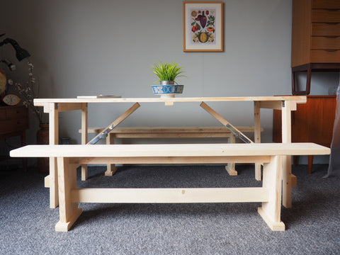 Handmade Picnic Pub Trestle Table & Benches Solid Pine Wedding Outdoor Events - erfmann-vintage