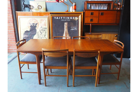 Mid Century McIntosh Dining Table & 6 Chairs (Recovered) - erfmann-vintage