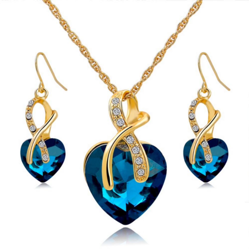 Crystal Heart Necklace Set