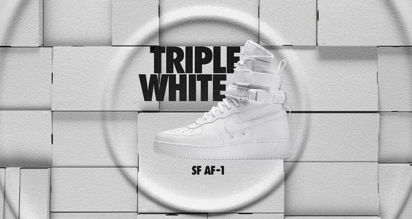 SF AF-1 TRIPLE WHITE AVAILABLE 12/8 AT 10:00 AM EST @ATMOS NYC
