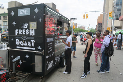 New Balance MS574 POPUP CART serving Donuts and Coffee in Harlem Today!