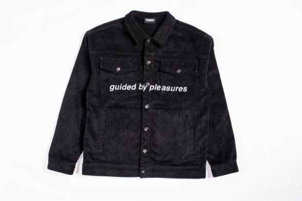 MEN'S PLEASURES GUIDED CORDUROY TRUCKER JACKET - BLACK