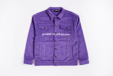 MEN'S PLEASURES GUIDED CORDUROY TRUCKER JACKET - PURPLE
