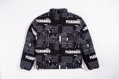 MEN'S PLEASURES POEMS PUFFER JACKET - BLACK