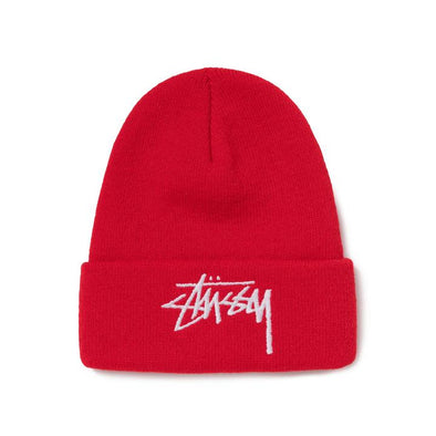 MEN'S STUSSY BIG STOCK CUFF BEANIE - BRITE RED
