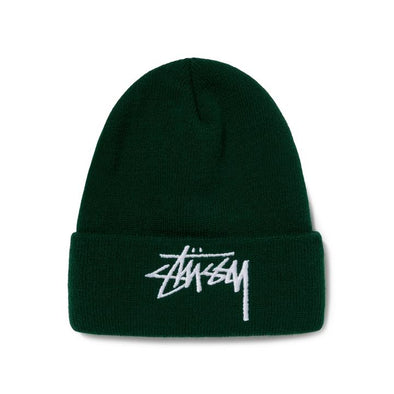 MEN'S STUSSY BIG STOCK CUFF BEANIE - FOREST GREEN