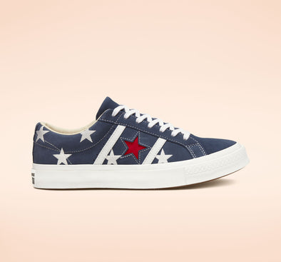 CONVERSE ONE STAR ACADEMY ARCHIVE PRINTS LOW TOP- NAVY/ENAMEL RED/WHITE