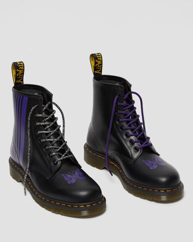 DR MARTENS x NEEDLES 1460 LEATHER LACE UP BOOTS - BLACK+PURPLE SMOOTH