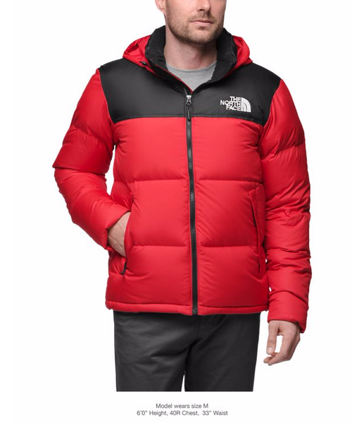 The North Face Men S Novelty Nuptse Jacket Tnf Red Tnf Black