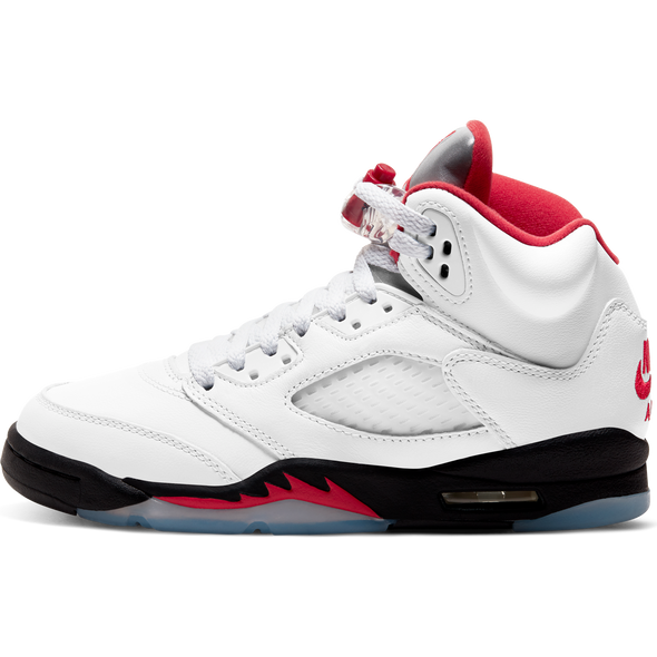AIR JORDAN 5 RETRO GS - TRUE WHITE/FIRE RED-BLACK