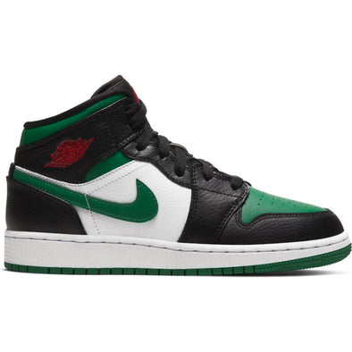 AIR JORDAN 1 MID (GS) - BLACK/PINE GREEN-WHITE-GYM RED
