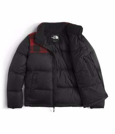 THE NORTH FACE MEN'S NOVELTY NUPTSE JACKET - TNF BLACK/CARDINAL RED GRIZZLY PRINT