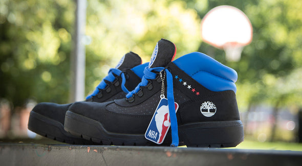 MEN'S TIMBERLAND X NBA PHILADELPHIA 76ERS WATERPROOF FIELD BOOTS - Black / Nubuck