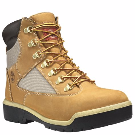 TIMBERLAND MEN'S 6-INCH WATERPROOF FIELD BOOTS-WHEAT NUBUCK