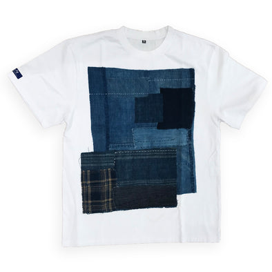 KOFU INDIGO DENIM PATCHWORK TEE - White