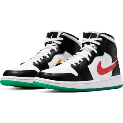WMNS AIR JORDAN 1 MID BLACK/UNIVERSITY RED-WHITE-LUCID GREEN