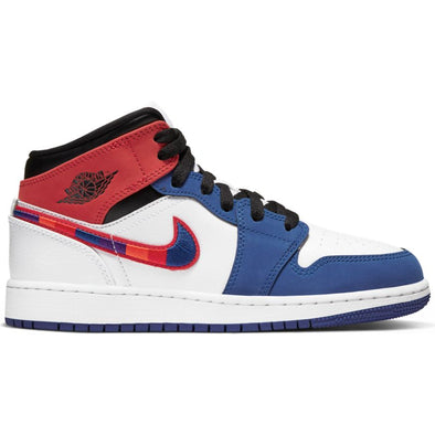 AIR JORDAN 1 MID SE (GS) - WHITE/UNIVERSITY RED-RUSH BLUE-BLACK