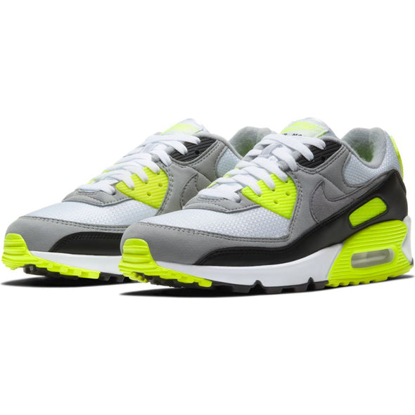 MEN'S NIKE AIR MAX 90 - WHITE/PARTICLE GREY-VOLT-BLACK