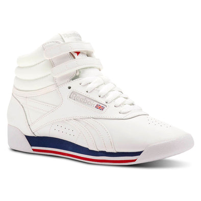 WOMEN'S REEBOK CLASSICS FREESTYLE HI - Retro White / Bunker Blue / Primal Red