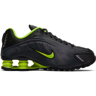 NIKE SHOX R4 (GS) - BLACK/VOLT-ANTHRACITE-METALLIC SILVER