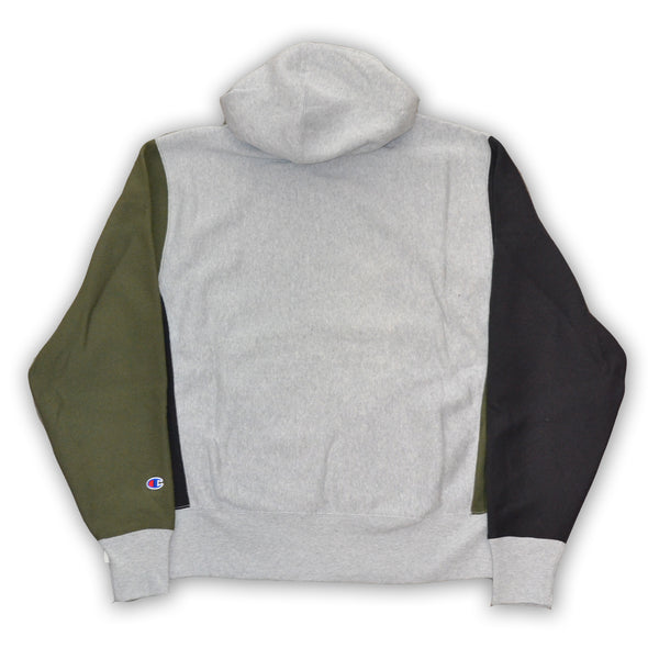 CHAMPION REVERSE WEAVE COLORBLOCK HOODIE - Olive