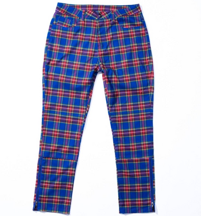 PLEASURES RESET PLAID PANTS - BLUE