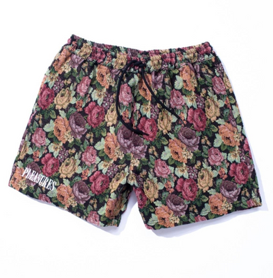 PLEASURES FLORAL WOVEN SHORTS - Black / Multi