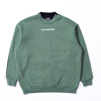 PLEASURES EXPERIENCE BLOCKED CREWNECK - Olive / Black
