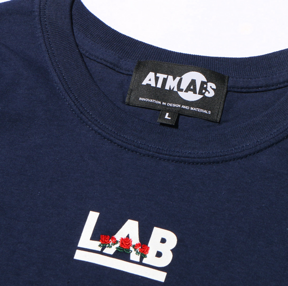 ATMOS LAB ROSE EMBROIDERY TEE - Navy