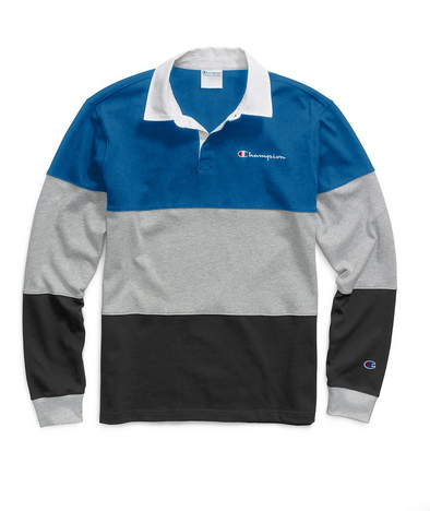 Champion Life® Men's Colorblock Rugby Shirt - Blue/Oxford Grey/Black