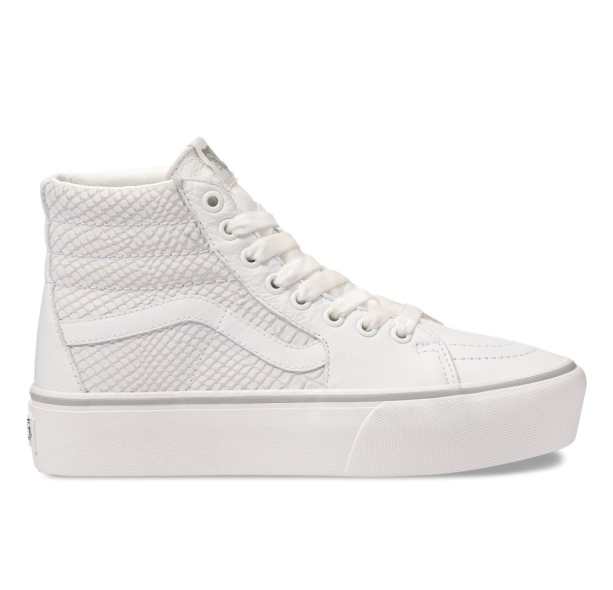 white leather high top vans