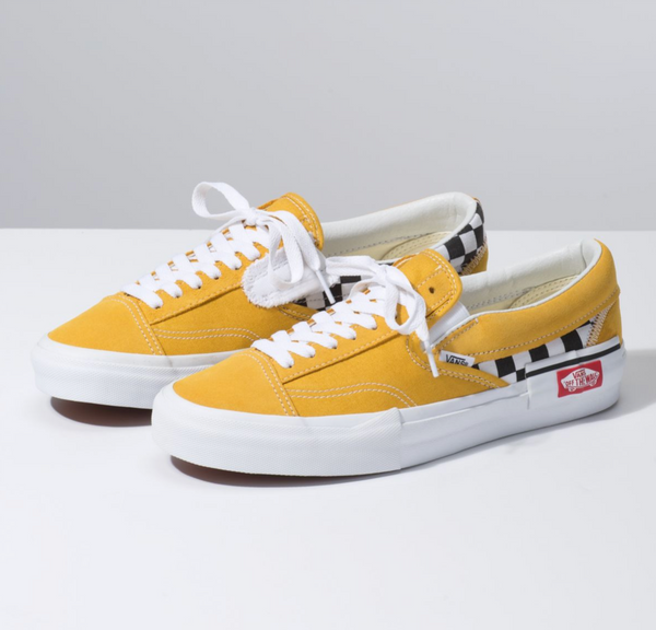 CHECKERBOARD SLIP-ON CAP SHOES - Golden Yellow