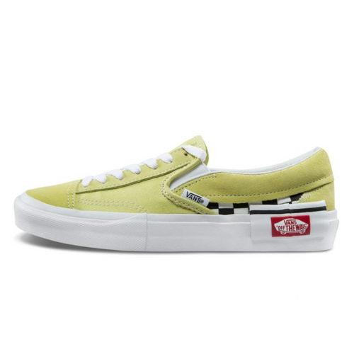 CHECKERBOARD SLIP-ON CAP SHOES - Pale Yellow