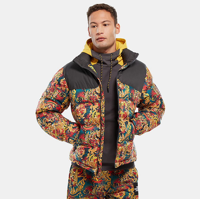 look for excellent quality best price THE NORTH FACE 1992 NUPTSE JACKET - Leopard Yellow Genesis Print