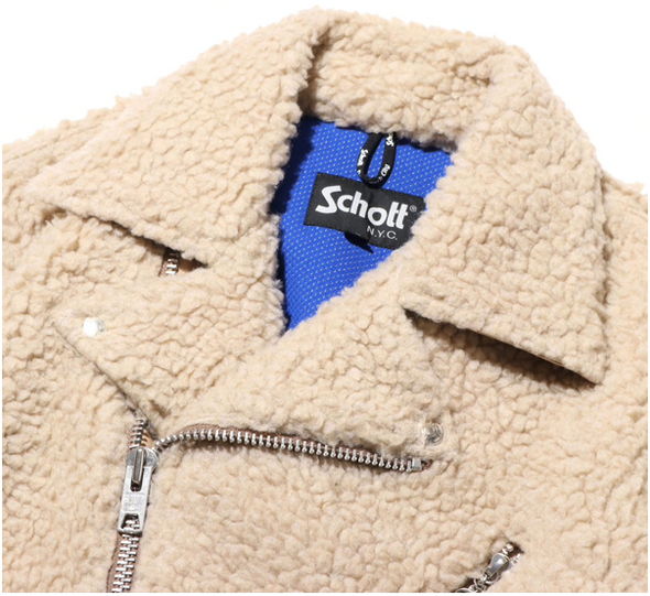 SCHOTT x ATMOS LAB FLEECE RIDERS JACKET- NATURAL