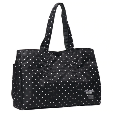 PORTER x ATMOS LAB SATIN TOTE BAG L  - BLACK / DOT