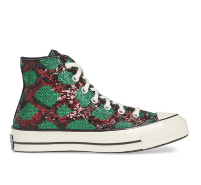 CONVERSE CHUCK 70 SEQUIN HI - RED/GREEN/EGRET