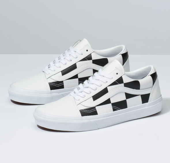 VANS LEATHER CHECK OLD SKOOL - True White / Black